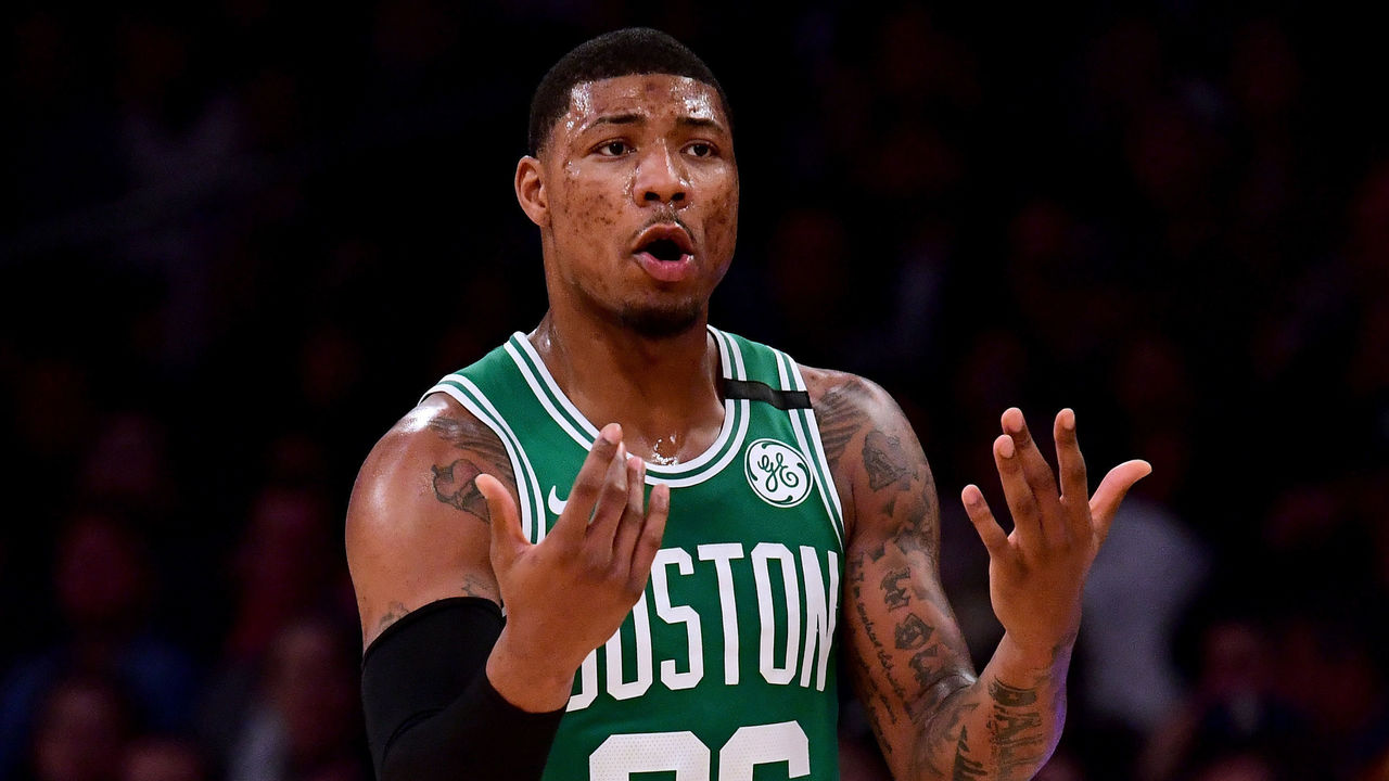 LOS ANGELES, CA - JANUARY 23: Marcus Smart #36 of the Boston Celtics calls for the ball during the first half against the Los Angeles Lakers at Staples Center on January 23, 2018 in Los Angeles, California.