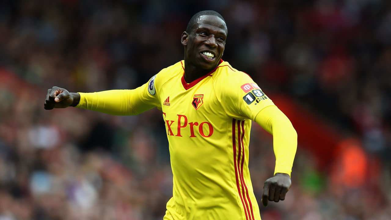 SOUTHAMPTON, ENGLAND - SEPTEMBER 09: Abdoulaye Doucoure of Watford celebrates after scoring his sides first goal during the Premier League match between Southampton and Watford at St Mary's Stadium on September 9, 2017 in Southampton, England.