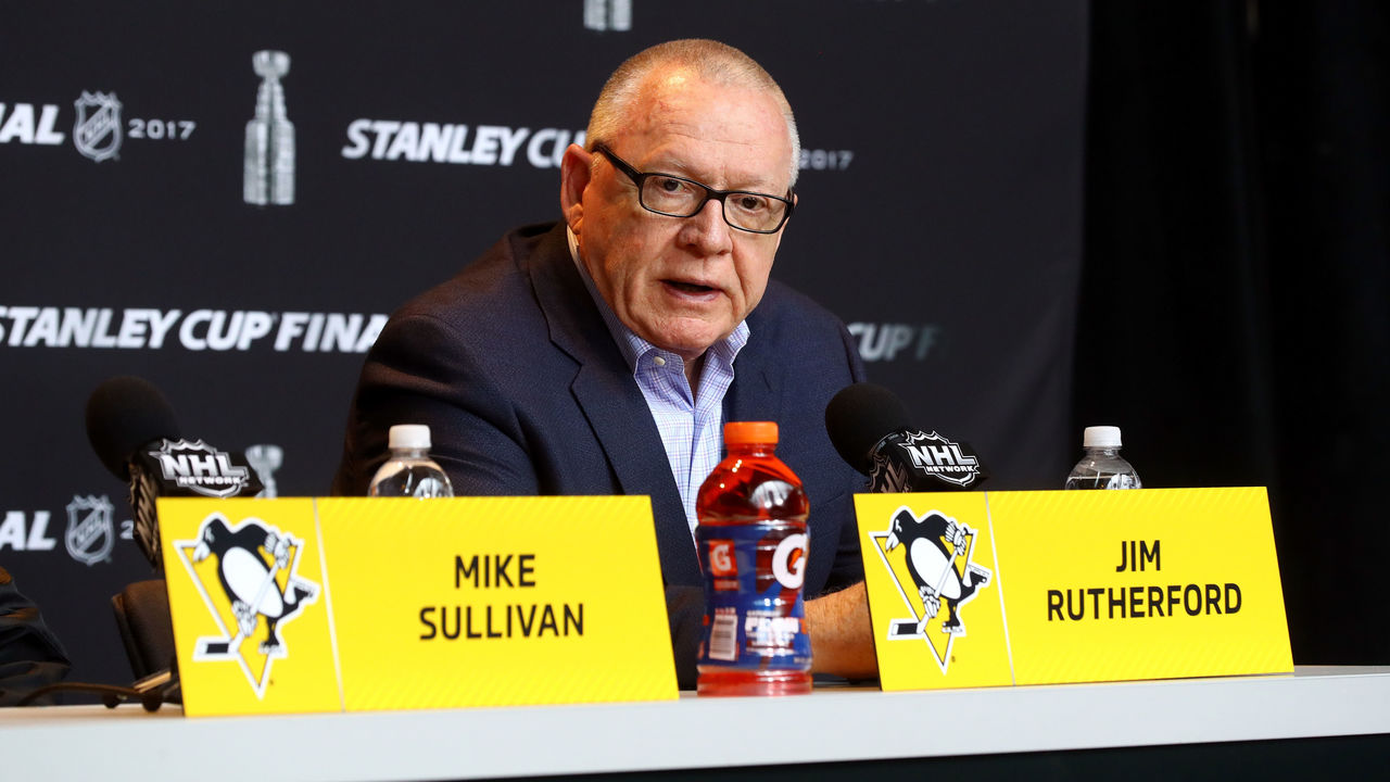PITTSBURGH, PA - MAY 28: General Manager Jim Rutherford of the Pittsburgh Penguins answers questions in a press conference during Media Day for the 2017 NHL Stanley Cup Final at PPG PAINTS Arena on May 28, 2017 in Pittsburgh, Pennsylvania.