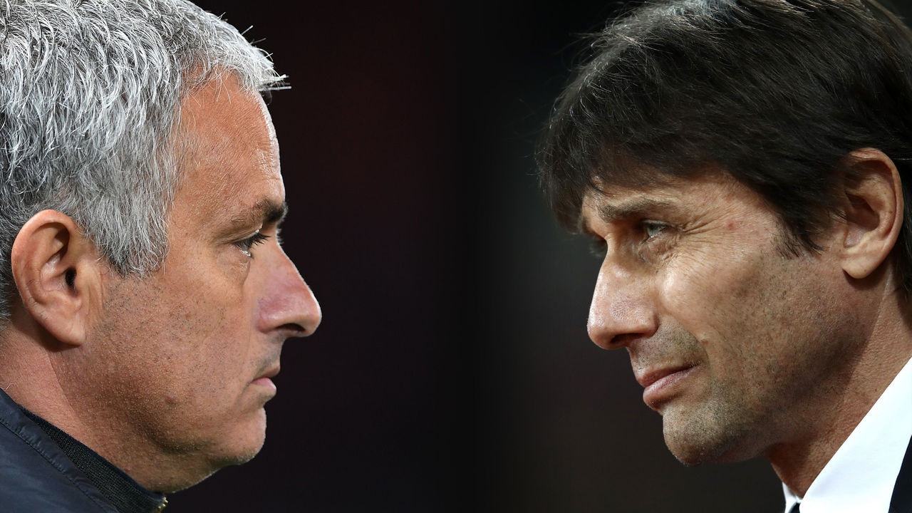 FILE PHOTO (EDITORS NOTE: GRADIENT ADDED - COMPOSITE OF TWO IMAGES - Image numbers (L) 615867896 and 648790080) In this composite image a comparision has been made between Jose Mourinho,Manager of Manchester United (L) and Antonio Conte, Manager of Chelsea. Chelsea and Manchester United meet a Premier Laegue match at Old Trafford on April 16, 2017 in Manchester,England. ***LEFT IMAGE*** MANCHESTER, ENGLAND - OCTOBER 20: Jose Mourinho the manager of Manchester United looks on during the UEFA Europa League Group A match between Manchester United FC and Fenerbahce SK at Old Trafford on October 20, 2016 in Manchester, England. Restrictions