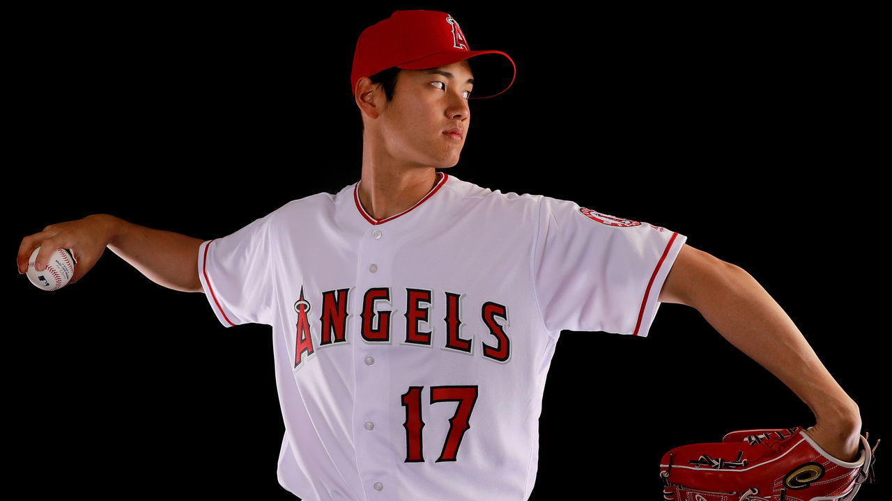 TEMPE, AZ - FEBRUARY 22: Shohei Ohtani #17 of the Los Angeles Angels from Japan poses during Los Angeles Angels Photo Day at Tempe Diablo Stadium on February 22, 2018 in Tempe, Arizona.