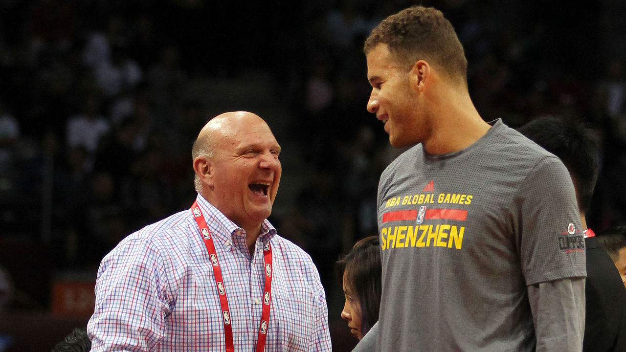 SHENZHEN, CHINA - OCTOBER 11:Steve Ballmer, owner of Los Angeles Clippers talks with Blake Griffin #32 of Los Angeles Clippers before the match between Charlotte Hornets and Los Angeles Clippers as part of the 2015 NBA Global Games China at Universiade Centre on October 11, 2015 in Shenzhen, China.
