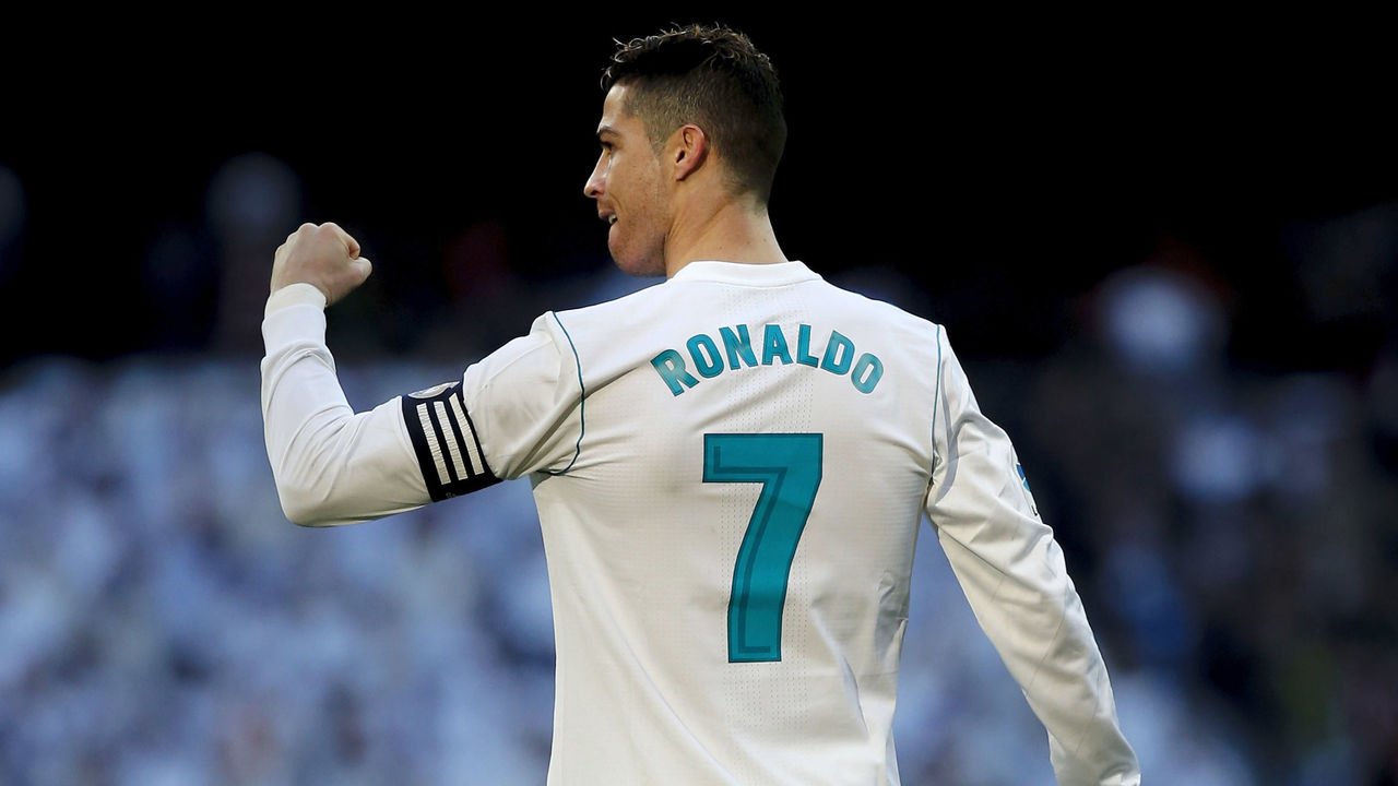 MADRID, SPAIN - FEBRUARY 24: Cristiano Ronaldo of Real Madrid CF celebrates scoring their second goal during the La Liga match between Real Madrid CF and Deportivo Alaves at Estadio Santiago Bernabeu on February 24, 2018 in Madrid, Spain.