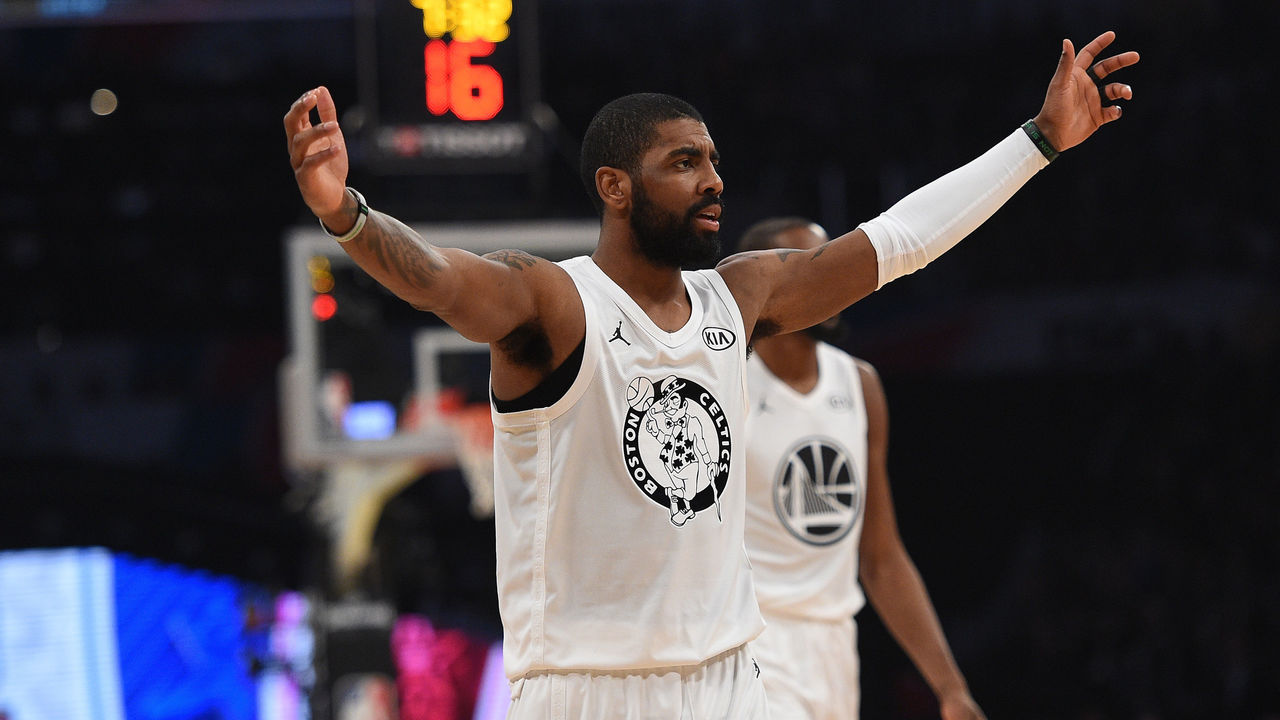 LOS ANGELES, CA - FEBRUARY 18: Kyrie Irving #11 of Team LeBron reacts during the NBA All-Star Game 2018 at Staples Center on February 18, 2018 in Los Angeles, California.