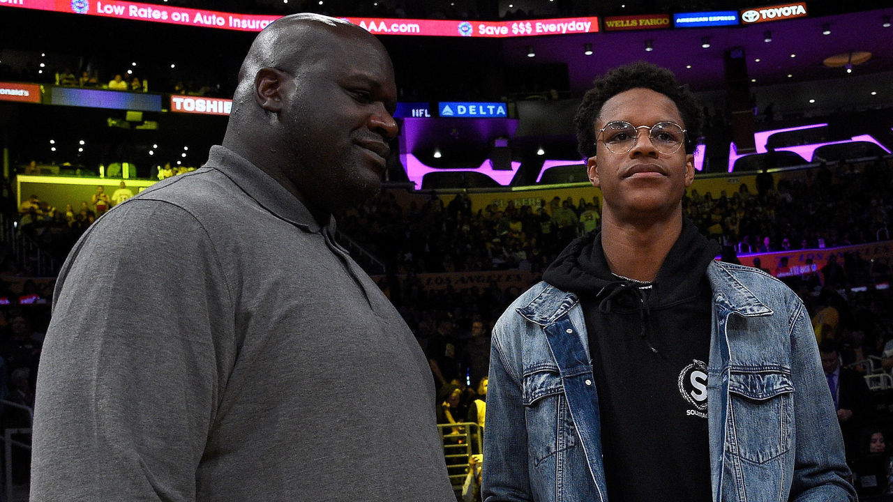 LOS ANGELES, CA - DECEMBER 18: Shaquille O'Neal and son Shareef O'Neal are seen at halftime at Staples Center on December 18, 2017 in Los Angeles, California.