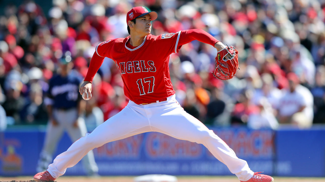 TEMPE, AZ - FEBRUARY 24: Shohei Ohtani #17 of the Los Angeles Angels pitches during a game against the Milwaukee Brewers on Saturday, February 24, 2018 at Tempe Diablo Stadium in Tempe, Arizona.