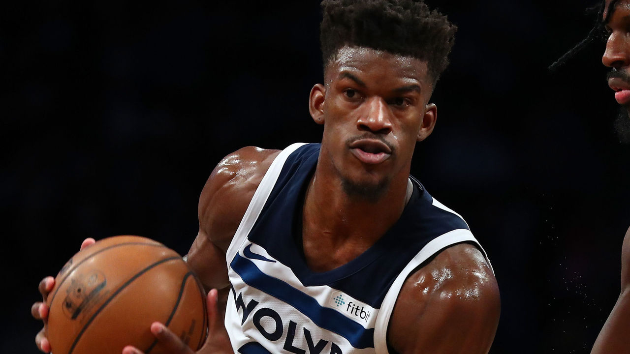 NEW YORK, NY - JANUARY 03: Jimmy Butler #23 of the Minnesota Timberwolves in action against the Brooklyn Nets during their game at Barclays Center on January 3, 2018 in New York City. User expressly acknowledges and agrees that, by downloading and/or using this Photograph, user is consenting to the terms and conditions of the Getty Images License Agreement.