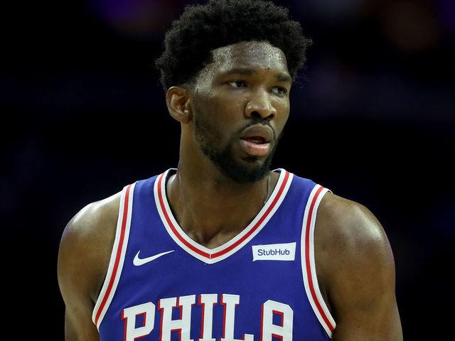 PHILADELPHIA PA - DECEMBER 7 Joel Embiid 21 of the Philadelphia 76ers looks on against the Los Angeles Lakers at Wells Fargo Center on December 7 2017 in Philadelphia Pennsylvania
