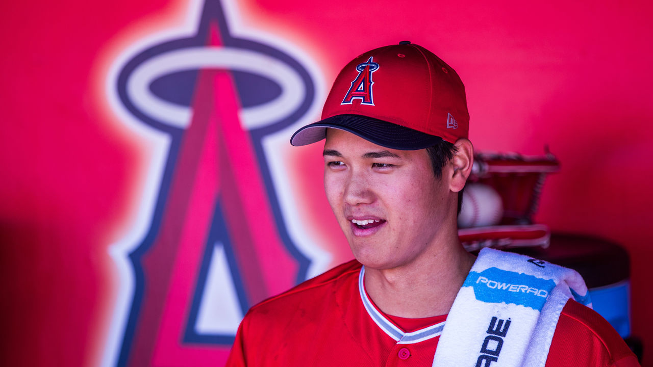 TEMPE, AZ - FEBRUARY 24: Shohei Ohtani #17 pitcher of the Los Angeles Angels of Anaheim looks on before a game against the Milwaukee Brewers during a Spring Training Game at Goodyear Ballpark on February 24, 2018 in Goodyear, Arizona.