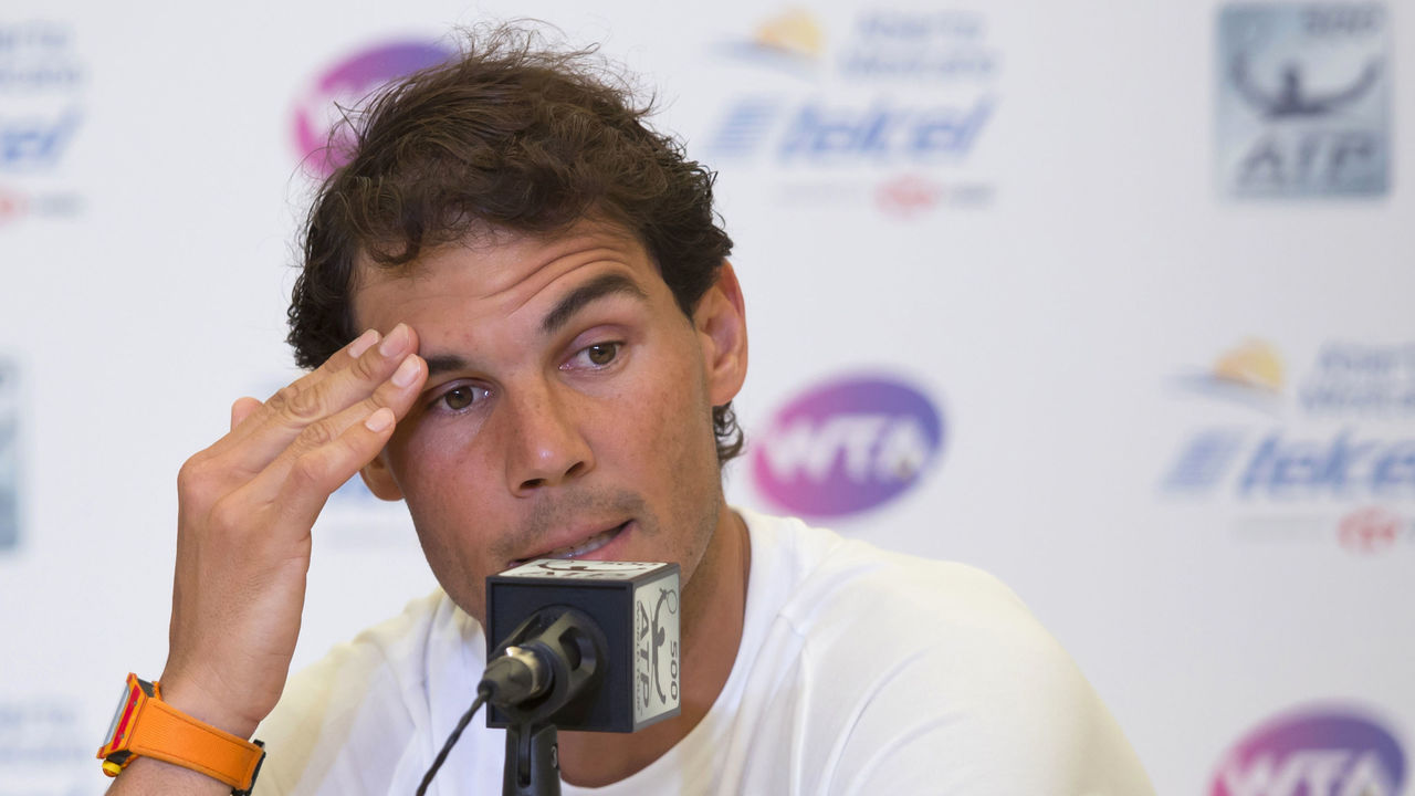 ACAPULCO, MEXICO - FEBRUARY 27: Rafael Nadal of Spain gestures during a press conference to announce his retirement from the Telcel Mexican Open 2018 at Mextenis Stadium on February 27, 2018 in Acapulco, Mexico.