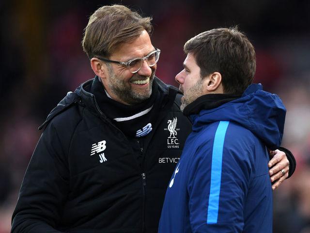LIVERPOOL, ENGLAND - FEBRUARY 04: Jurgen Klopp, Manager of Liverpool greets Mauricio Pochettino, Manager of Tottenham Hotspur prior to the Premier League match between Liverpool and Tottenham Hotspur at Anfield on February 4, 2018 in Liverpool, England.