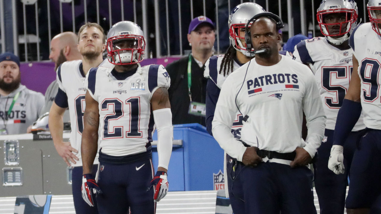 MINNEAPOLIS, MN - FEBRUARY 4: New England Patriots Malcolm Butler stands on sideline during 4th quarter of Super Bowl LII. The New England Patriots play the Philadelphia Eagles in Super Bowl LII at US Bank Stadium in Minneapolis on Feb. 4, 2018.