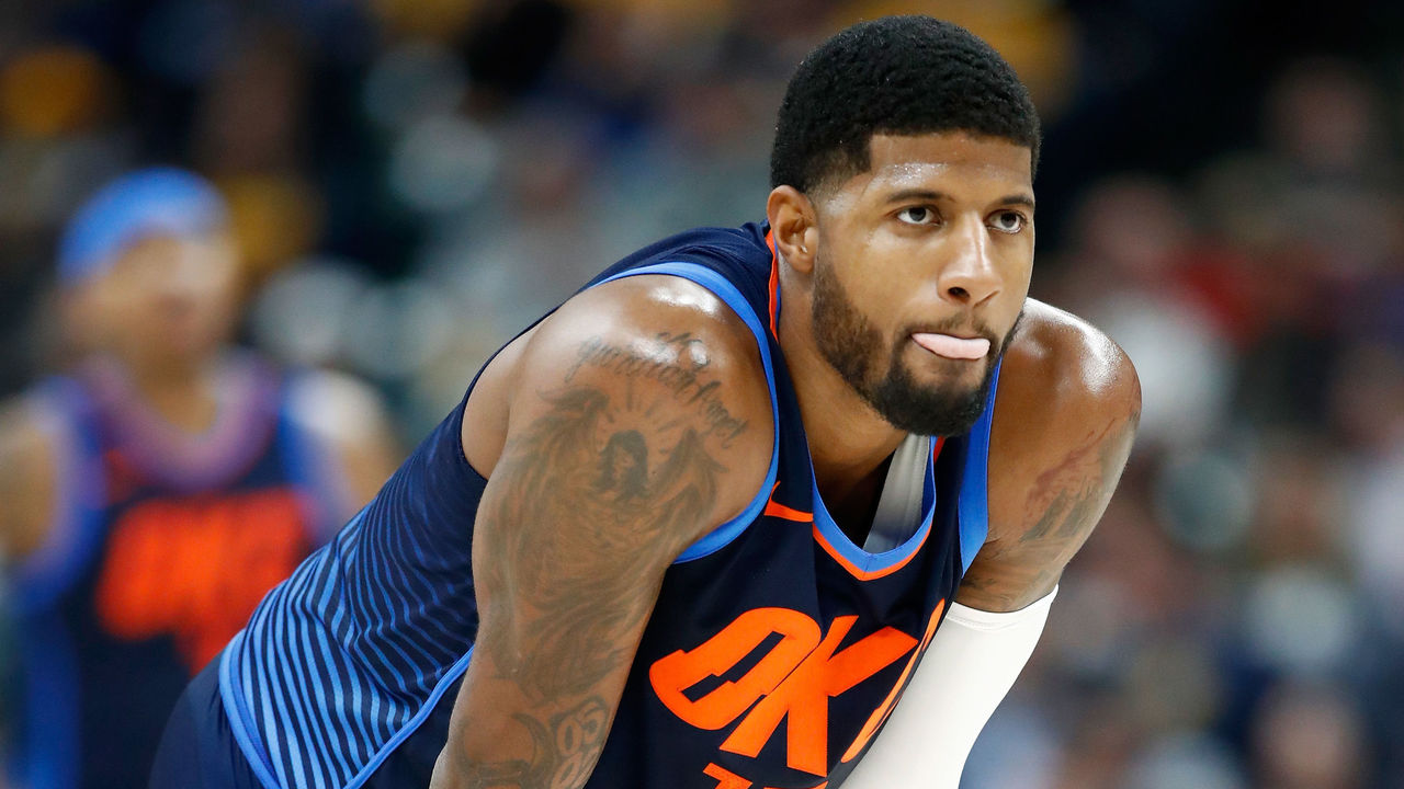 INDIANAPOLIS, IN - DECEMBER 13: Paul George #13 of the Oklahoma City Thunder watches the action in the game against the Indiana Pacers at Bankers Life Fieldhouse on December 13, 2017 in Indianapolis, Indiana.
