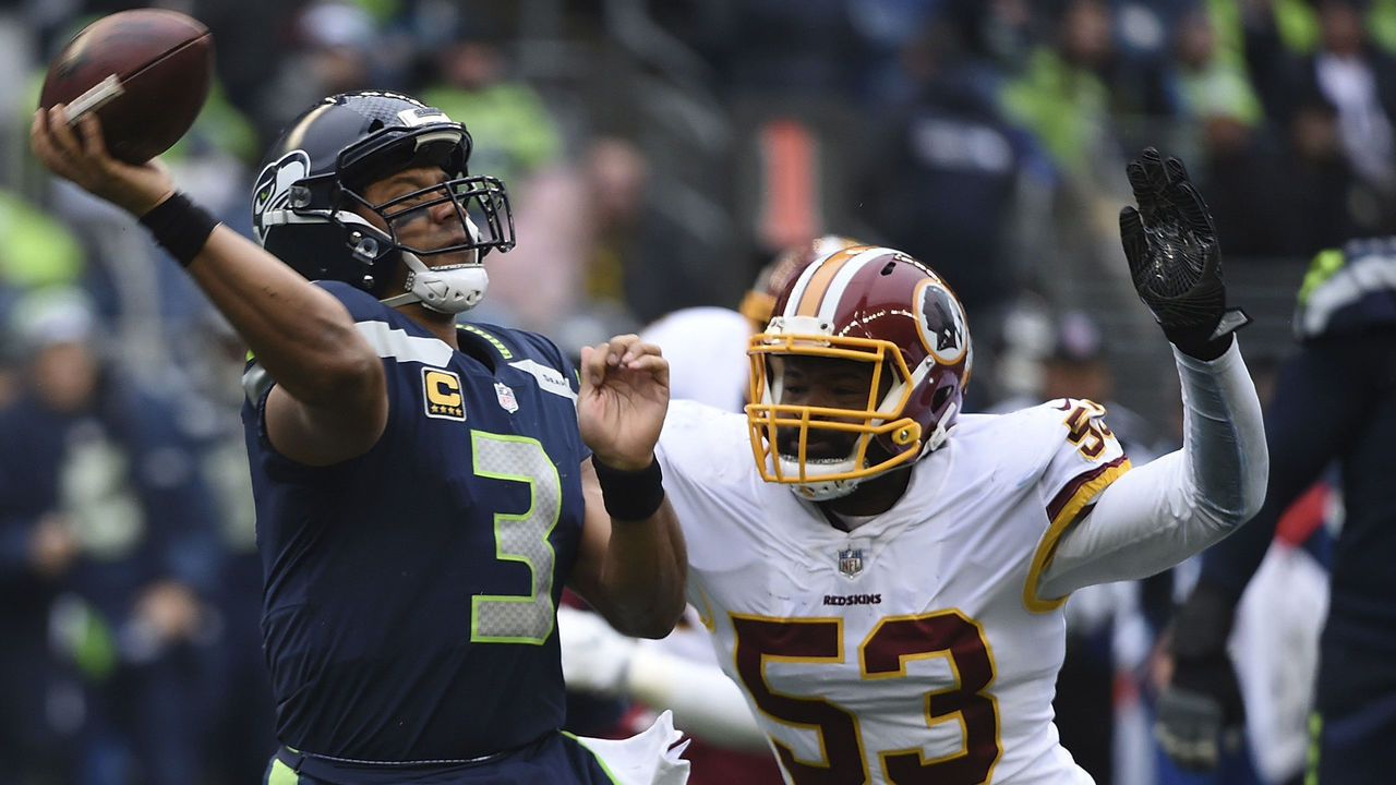 SEATTLE, WA - NOVEMBER 05: Quarterback Russell Wilson #3 of the Seattle Seahawks is pressured by inside linebacker Zach Brown #53 of the Washington Redskins during the second quarter of the game against the Washington Redskins at CenturyLink Field on November 5, 2017 in Seattle, Washington. The Redskins won 17-14.
