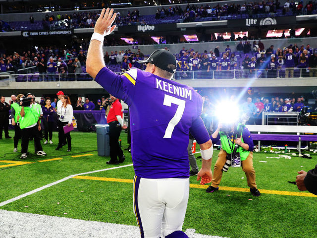 MINNEAPOLIS, MN - DECEMBER 17: Case Keenum #7 of the Minnesota Vikings waves to the crowd after the game against the Cincinnati Bengals on December 17, 2017 at U.S. Bank Stadium in Minneapolis, Minnesota. The Vikings defeated the Bengals 34-7 and clinched the NFC North Division title.