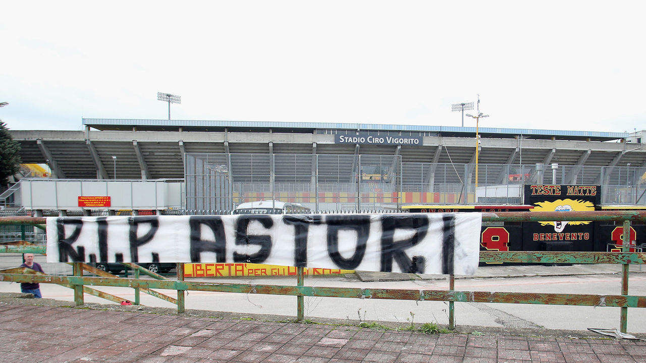 BENEVENTO, ITALY - MARCH 04: A genaral view of stadium after the news of Davide Astori's death prior to the serie A match between Benevento Calcio and Hellas Verona FC at Stadio Ciro Vigorito on March 4, 2018 in Benevento, Italy.