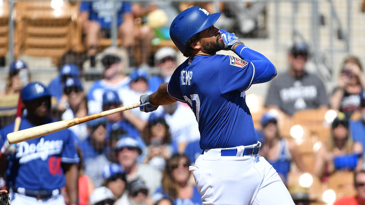 GLENDALE, AZ - MARCH 03: Matt Kemp #27 of the Los Angeles Dodgers hits a two run home run in the first inning of the spring training game against the Arizona Diamondbacks at Camelback Ranch on March 3, 2018 in Glendale, Arizona.