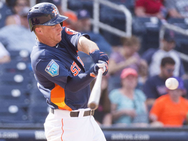 WEST PALM BEACH, FL - MARCH 01: Houston Astros Non-roster invitee Outfielder Myles Straw (73) bats during an MLB spring training game between the Boston Red Sox and the Houston Astros at The Ballpark of the Palm Beaches in West Palm Beach, Florida on March 1, 2018.