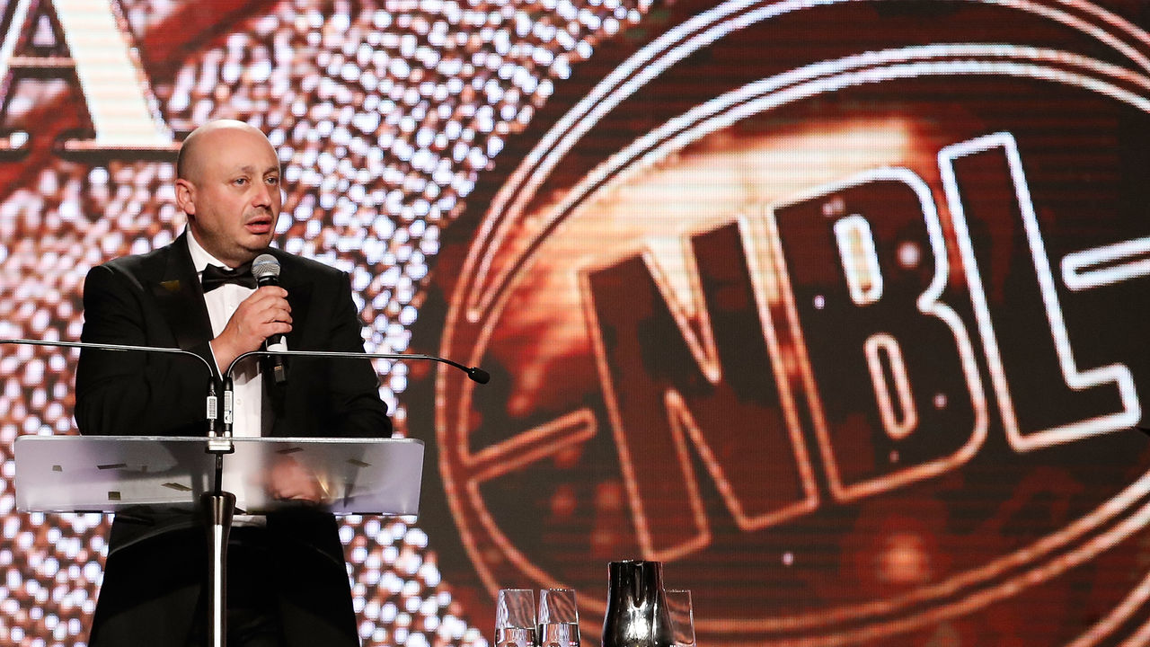 MELBOURNE, AUSTRALIA - FEBRUARY 27: Larry Kestelman, Executive Director of the National Basketball League speaks on stage at the 2018 NBL MVP Awards Night at Crown Palladium on February 27, 2018 in Melbourne, Australia.