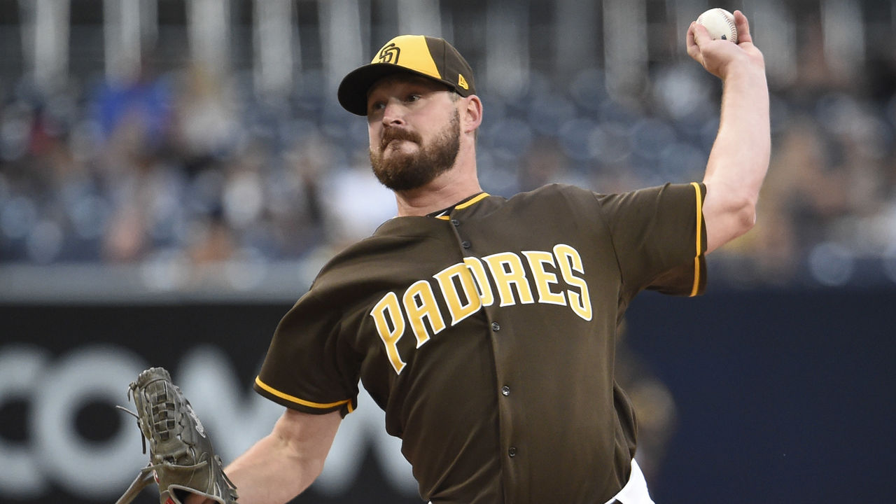 SAN DIEGO, CA - JULY 28: Travis Wood #37 of the San Diego Padres pitches during the first inning of a baseball game against the Pittsburgh Pirates at PETCO Park on July 28, 2017 in San Diego, California.