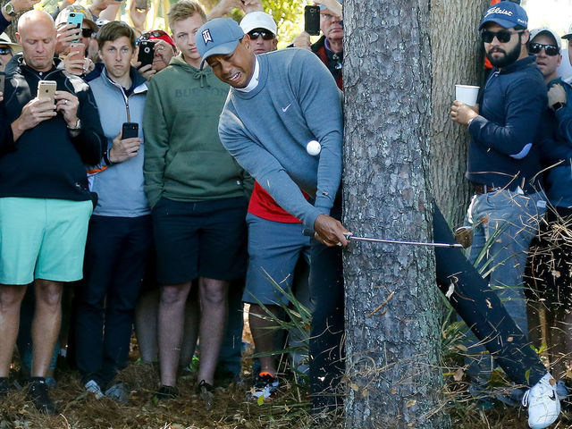 PALM HARBOR, FL - MARCH 08: Tiger Woods plays his second shot on the fourth hole during the first round of the Valspar Championship at Innisbrook Resort Copperhead Course on March 8, 2018 in Palm Harbor, Florida.