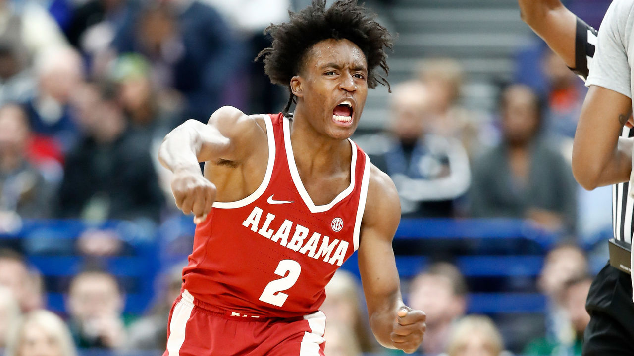 ST LOUIS, MO - MARCH 08: Collin Sexton #2 of the Alabama Crimson Tide celebrates against the Texas A&M Aggies during the second round of the 2018 SEC Basketball Tournament at Scottrade Center on March 8, 2018 in St Louis, Missouri.