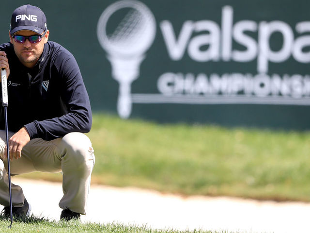 PALM HARBOR, FL - MARCH 08: Corey Conners of Canada looks over a putt on the 17th green during the first round of the Valspar Championship at Innisbrook Resort Copperhead Course on March 8, 2018 in Palm Harbor, Florida.