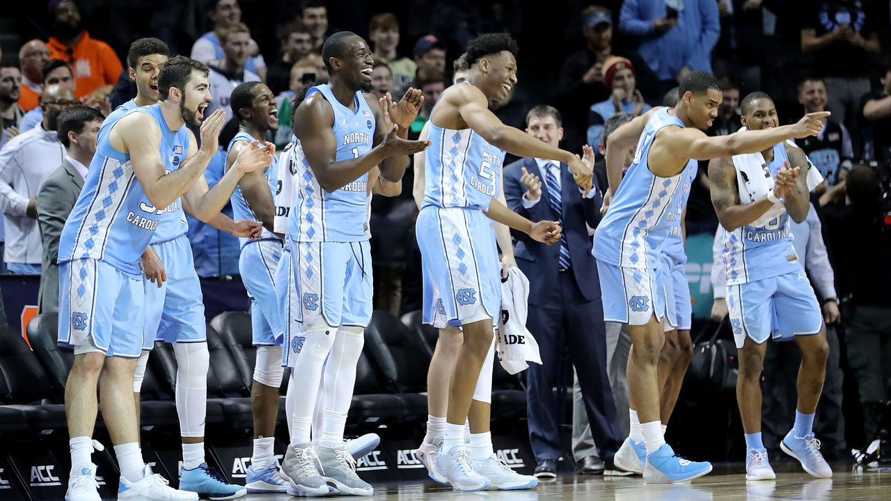 NEW YORK, NY - MARCH 08: The North Carolina Tar Heels bench reacts in the second half against the Miami (Fl) Hurricanes during the quarterfinals of the ACC Men's Basketball Tournament at Barclays Center on March 8, 2018 in the Brooklyn borough of New York City.