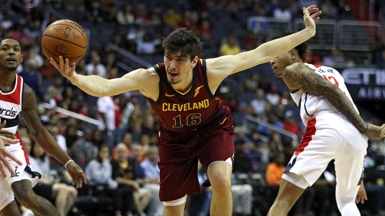 WASHINGTON, DC - OCTOBER 08: Cedi Osman #16 of the Cleveland Cavaliers looses control of the ball against the Washington Wizards in the first half during a preseason game at Capital One Arena on October 8, 2017 in Washington, DC.