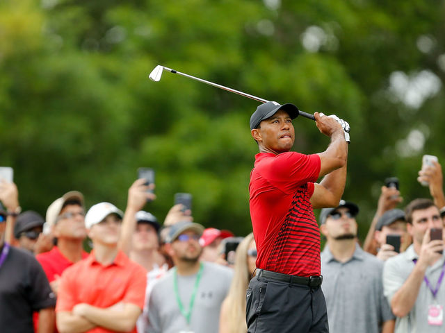 PALM HARBOR, FL - MARCH 11: Tiger Woods plays his shot from the 15th tee during the final round of the Valspar Championship at Innisbrook Resort Copperhead Course on March 11, 2018 in Palm Harbor, Florida.
