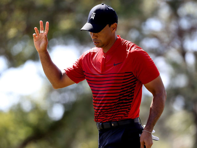 PALM HARBOR, FL - MARCH 11: Tiger Woods reacts after a putt on the sixth hole during the final round of the Valspar Championship at Innisbrook Resort Copperhead Course on March 11, 2018 in Palm Harbor, Florida.