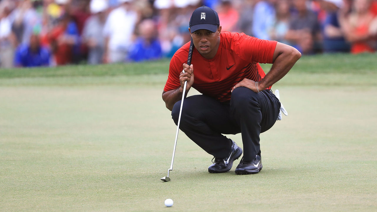 PALM HARBOR, FL - MARCH 11: Tiger Woods looks over a putt on the 18th green during the final round of the Valspar Championship at Innisbrook Resort Copperhead Course on March 11, 2018 in Palm Harbor, Florida.