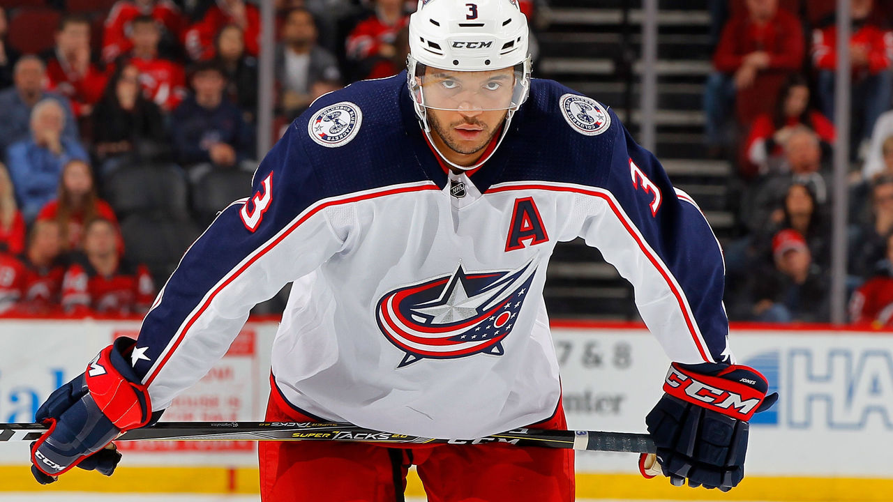 NEWARK, NJ - FEBRUARY 20: Seth Jones #3 of the Columbus Blue Jackets in action against the New Jersey Devils on February 20, 2018 at Prudential Center in Newark, New Jersey.