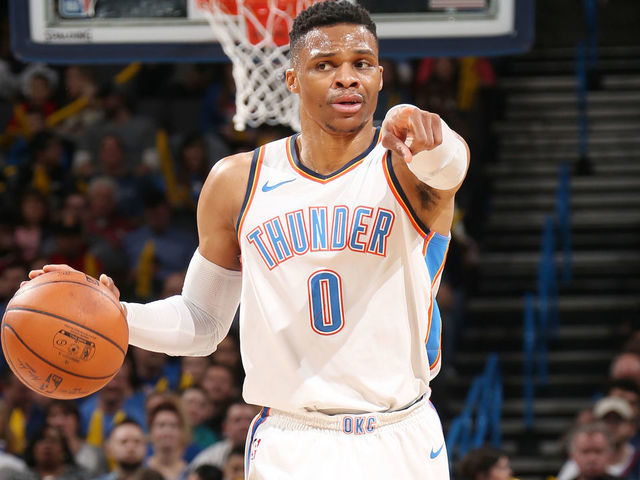 OKLAHOMA CITY, OK - MARCH 12: Russell Westbrook #0 of the Oklahoma City Thunder handles the ball against the Sacramento Kings on March 12, 2018 at Chesapeake Energy Arena in Oklahoma City, Oklahoma. Mandatory Copyright Notice: Copyright 2018 NBAE