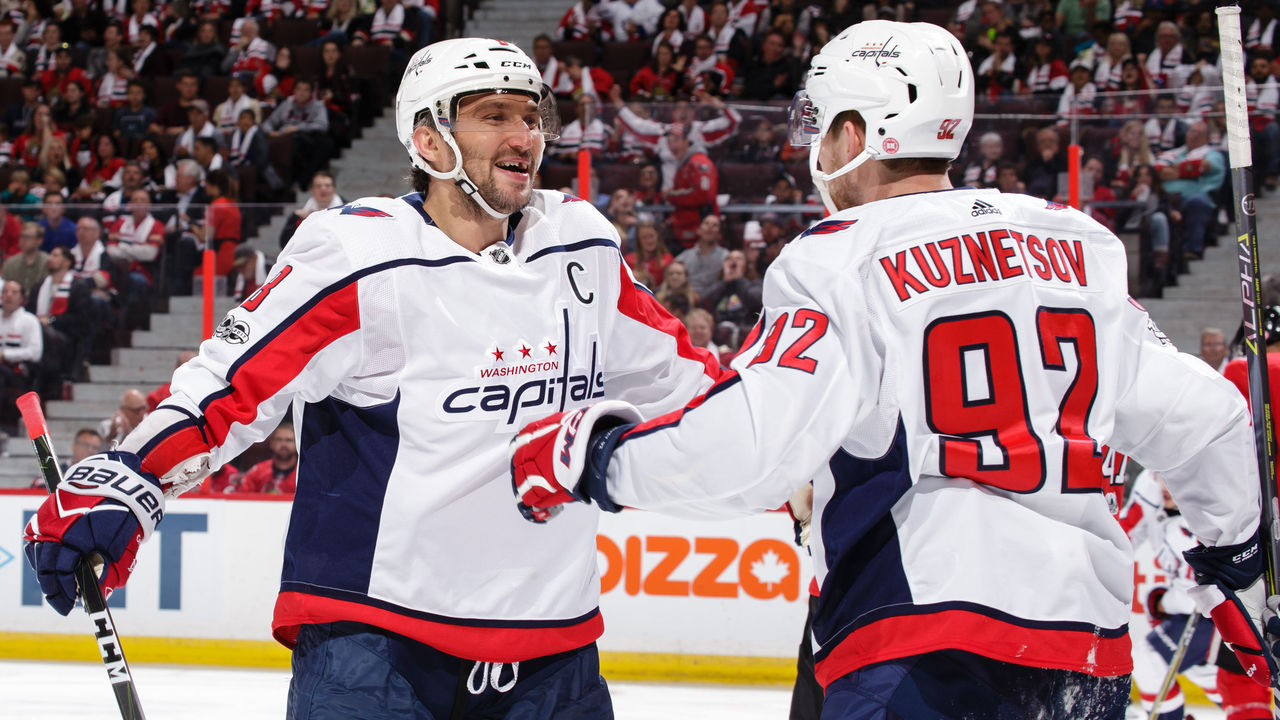 OTTAWA, ON - OCTOBER 5: Alex Ovechkin #8 of the Washington Capitals celebrates his third period goal and second of the game against the Ottawa Senators with teammate Evgeny Kuznetsov #92 at Canadian Tire Centre on October 5, 2017 in Ottawa, Ontario, Canada.