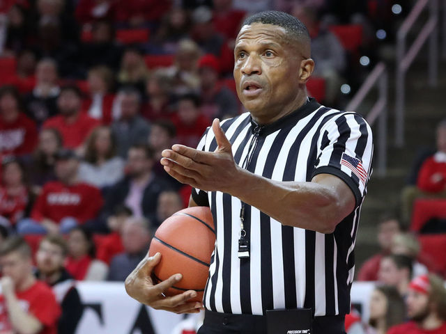 RALEIGH, NC - FEBRUARY 03: Referee Ted Valentine. The North Carolina State Wolfpack hosted the University of Notre Dame Fighting Irish on February 3, 2018 at PNC Arena in Raleigh, NC in a Division I men's college basketball game. NC State won the game 76-58.