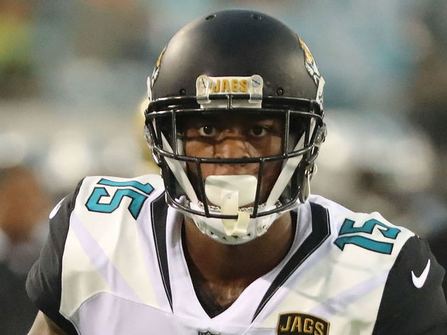 JACKSONVILLE, FL - AUGUST 24: Allen Robinson #15 of the Jacksonville Jaguars warms up during a preseason game against the Carolina Panthers at EverBank Field on August 24, 2017 in Jacksonville, Florida.