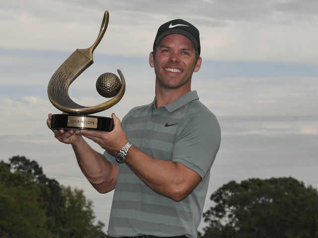 PALM HARBOR, FL - MARCH 11: Paul Casey of England poses for photographs with the trophy following the final round of the Valspar Championship at Innisbrook Resort (Copperhead) on March 11, 2018 in Palm Harbor, Florida.