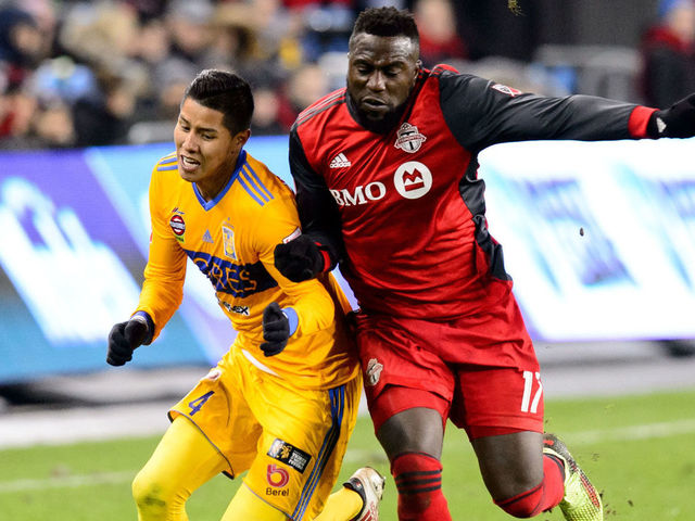 TORONTO, ON - MARCH 07: Jozy Altidore (17) of Toronto FC fouls Hugo Ayala (4) of Tigres UANL during the CONCACAF Champions League Quarter-final match between Toronto FC and Tigres UANL on March 7, 2018, at BMO Field in Toronto, ON, Canada. (Photograph by Julian Avram/Icon Sportswire via Getty Images)