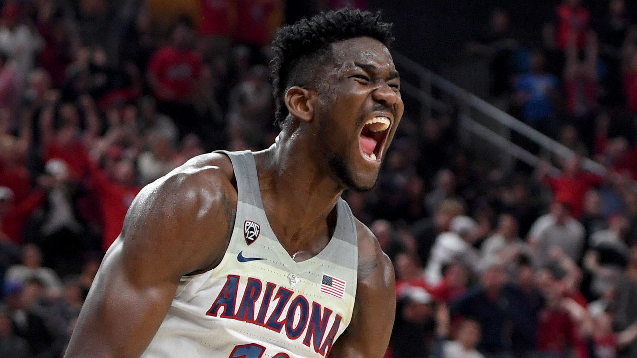 LAS VEGAS, NV - MARCH 10: Deandre Ayton #13 of the Arizona Wildcats reacts after dunking against the USC Trojans during the championship game of the Pac-12 basketball tournament at T-Mobile Arena on March 10, 2018 in Las Vegas, Nevada. The Wildcats won 75-61.