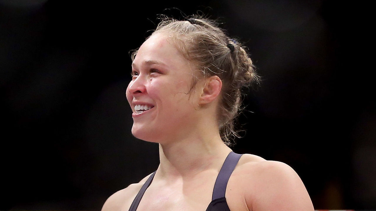 RIO DE JANEIRO, BRAZIL - AUGUST 01: Ronda Rousey of the United States defeats Bethe Correia of Brazil in their bantamweight title fight during the UFC 190 Rousey v Correia at HSBC Arena on August 1, 2015 in Rio de Janeiro, Brazil.