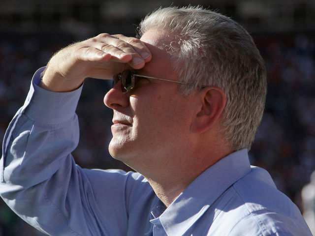 DENVER - SEPTEMBER 19: Tod Leiweke CEO of the Seattle Seahawks watches from the bench as they face the Denver Broncos at INVESCO Field at Mile High on September 19, 2010 in Denver, Colorado. The Broncos defeated the Seahawks 31-14.