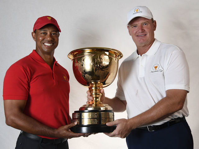 ORLANDO, FL - MARCH 13: Ernie Els of South Africa and Tiger Woods of the United States are named captains for the 2019 President's Cup in Melbourne, Australia prior to the Arnold Palmer Invitational presented by MasterCard at Bay Hill Club and Lodge on March 13, 2018 in Orlando, Florida.