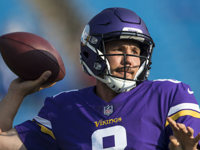 ORCHARD PARK, NY - AUGUST 10: Sam Bradford #8 of the Minnesota Vikings warms up before the preseason game against the Buffalo Bills on August 10, 2017 at New Era Field in Orchard Park, New York.