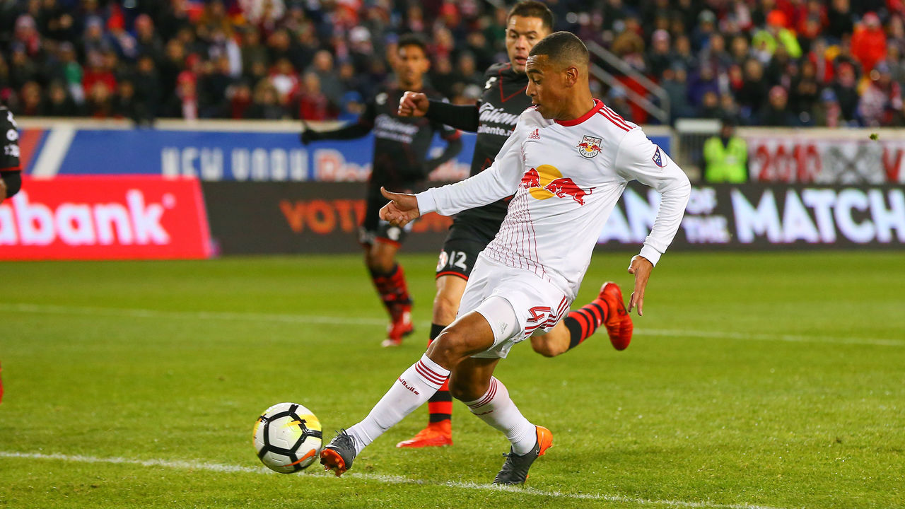 HARRISON, NJ - MARCH 13: New York Red Bulls midfielder Tyler Adams (4) scores during the first half of the CONCACAF Champions League Quarter-final match between the New York Red Bulls and Club Tijuana on March 13, 2018, at Red Bull Arena in Harrison, NJ.