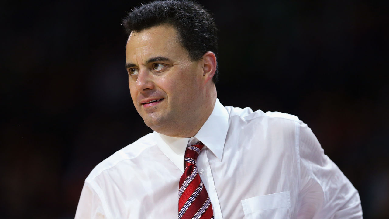 PROVIDENCE, RI - MARCH 17: Head coach Sean Miller of the Arizona Wildcats reacts in the first half against the Wichita State Shockers during the first round of the 2016 NCAA Men's Basketball Tournament at Dunkin' Donuts Center on March 17, 2016 in Providence, Rhode Island.