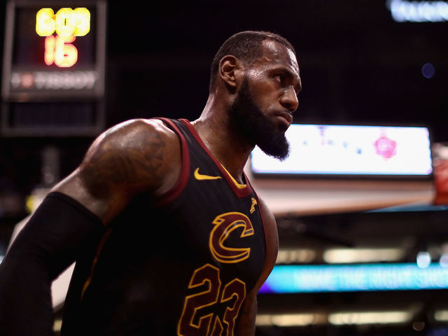 PHOENIX, AZ - MARCH 13: LeBron James #23 of the Cleveland Cavaliers walks onto the court during the first half of the NBA game against the Phoenix Suns at Talking Stick Resort Arena on March 13, 2018 in Phoenix, Arizona. The Cavaliers defeated the Suns 129-107.
