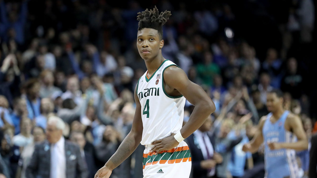 NEW YORK, NY - MARCH 08: Lonnie Walker IV #4 of the Miami (Fl) Hurricanes reacts in the second half against the North Carolina Tar Heels during the quarterfinals of the ACC Men's Basketball Tournament at Barclays Center on March 8, 2018 in the Brooklyn borough of New York City.