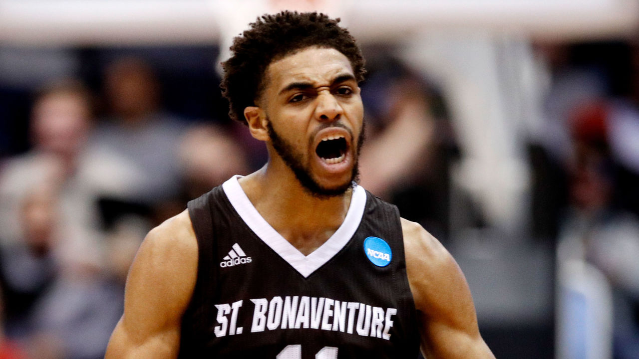 DAYTON, OH - MARCH 13: Courtney Stockard #11 of the St. Bonaventure Bonnies celebrates the basket against the UCLA Bruins during the second half of the First Four game in the 2018 NCAA Men's Basketball Tournament at UD Arena on March 13, 2018 in Dayton, Ohio.