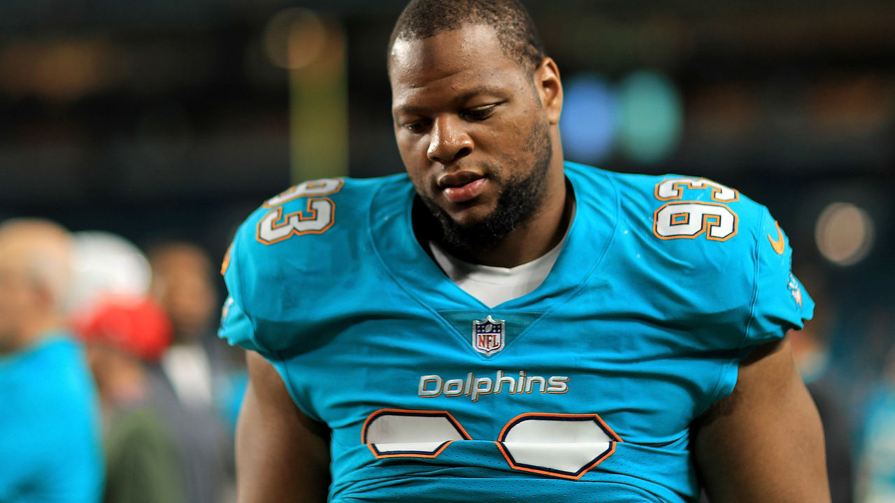 MIAMI GARDENS, FL - AUGUST 17: Ndamukong Suh #93 of the Miami Dolphins looks on during a preseason game against the Baltimore Ravens at Hard Rock Stadium on August 17, 2017 in Miami Gardens, Florida.